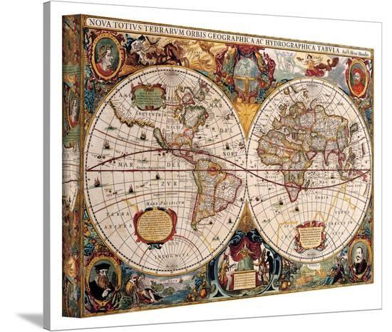 Henricus Hondius 'A New and Accurate Map of the World' Gallery Wrapped on freedom wars map, blank us map, guild wars map, labeled us map, us highway map, ja map, pa map, sg map, ou s map, brazil map, bloodborne map, se map, os map, usa map, united states map,