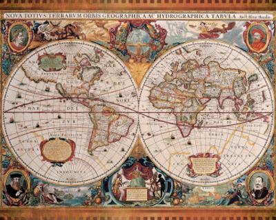 Antique Map, Geographica, c.1630 by Henricus Hondius