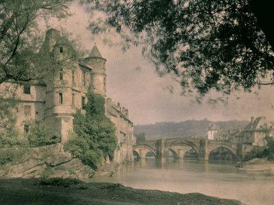 Panorama of Espalion, with the Old Bridge over the Lot River and the Castle