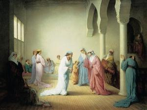 The Arrival into the Harem at Constantinople, 1861 by Henriette Browne