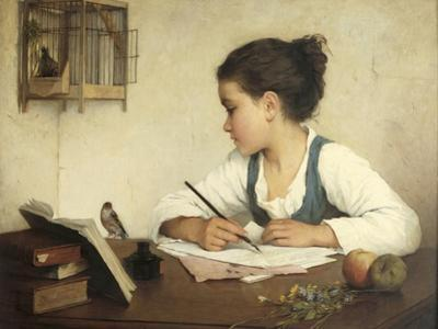 Young Girl Writing at Her Desk with Birds by Henriette Browne