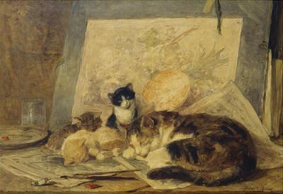 A Sleeping Cat and Kittens in an Artist's Studio by Henriette Ronner-Knip