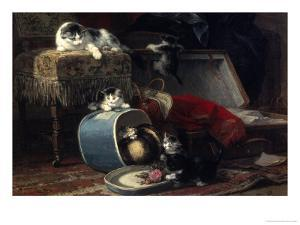 Mischief with a New Hat by Henriette Ronner-Knip
