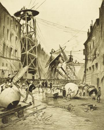 The War of the Worlds, after the Death of the Martian Invaders Londoners Examine Their Machines by Henrique Alvim Corrêa
