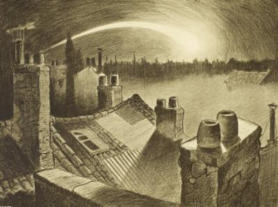 The War of the Worlds, The First ,Falling Star, is Seen Over the Rooftops of London by Henrique Alvim Corrêa