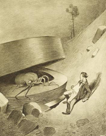 The War of the Worlds, The First Martian Emerges from the Cylinder by Henrique Alvim Corrêa