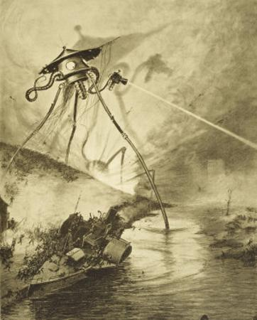 The War of the Worlds, The Martian Fighting-Machines in the Thames Valley by Henrique Alvim Corrêa