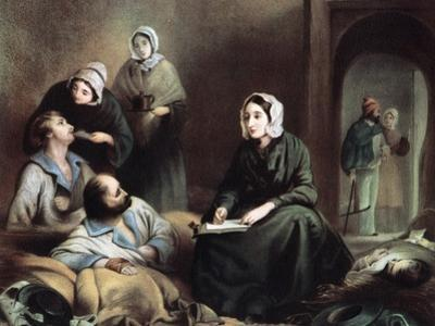 Florence Nightingale, British Nurse and Hospital Reformer, at Scutari Hospital, Turkey, 1855 by Henry Barraud