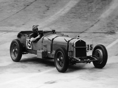 Henry Birkin in an Alfa Romeo at Brooklands, Surrey, 1930S