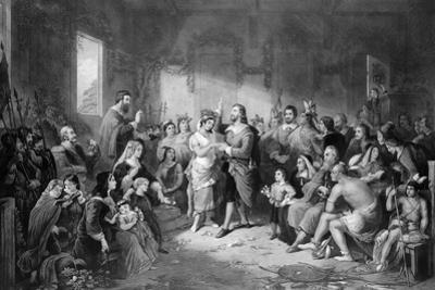 The Marriage of Pocahontas (C.1595-1617) Engraved by John C. Mccrae by Henry Brueckner