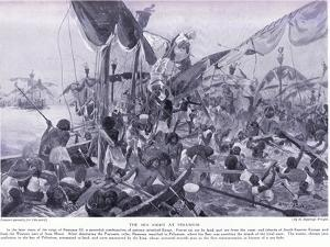 The Sea Fight at Pelusium, C.1920 by Henry Charles Seppings Wright