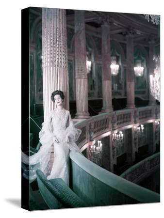 Model in White Tulle Dress with Spangles and Stole in the Theater of King Louis Xv at Versailles