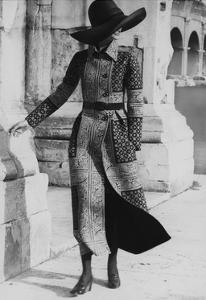Model Wearing a Belted Valentino Wool Coat with Positano Foulard Design by Henry Clarke