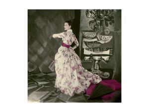 Model Wearing Fath's Rose Print Evening Dress of Satin Stripped Silk Organdie by Henry Clarke