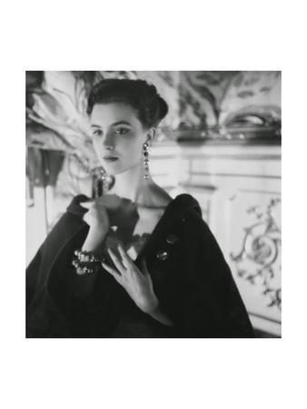 Signorina Illaria Occhini, Actress, Hands on Chest, Wearing Long Earrings and a Dark Cape