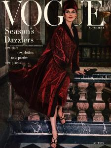 Vogue Cover - November 1955 by Henry Clarke