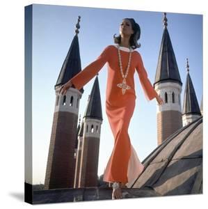 Vogue - December 1966 - Orange Christian Dior Dress by Henry Clarke