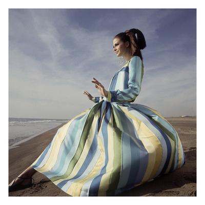 Vogue - June 1966 - Tiziani Striped Silk Evening Gown