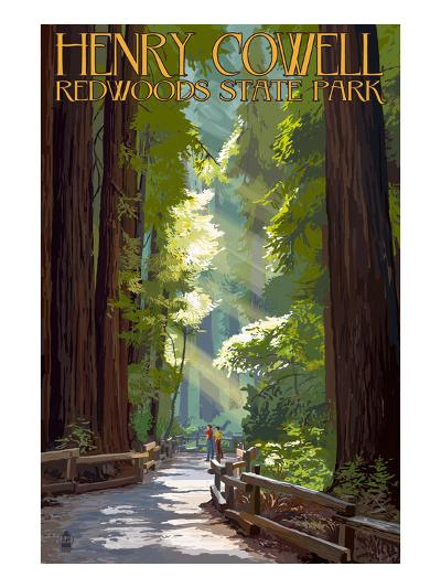 Henry Cowell Redwoods State Park - Pathway in Trees-Lantern Press-Art Print