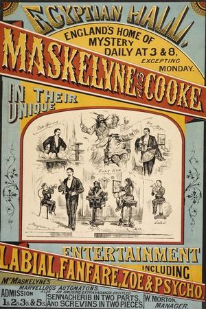 Maskelyne and Cooke's Entertainment at the Egyptian Hall in 1879. England's Home Of Mystery