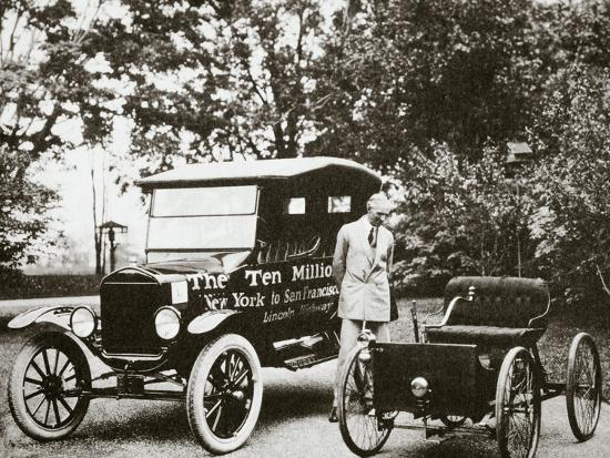 Henry Ford, American car manufacturer, with two of his cars, USA, 1924-Unknown-Photographic Print