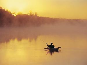 Fly-fishing in Lake Muskoka, Ontario by Henry Georgi