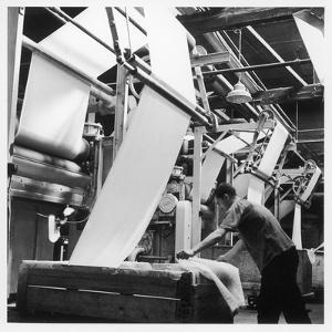 Finishing : Pulling Down Cloth at James Chadwick and Co, Lancashire by Henry Grant