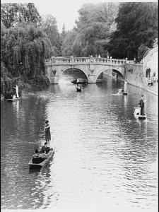 Male and Female Students Punting at Cambridge on the River Cam by Henry Grant