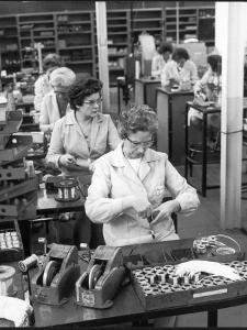 Women Working on a Switch Gear Assembly Line in Slough by Henry Grant