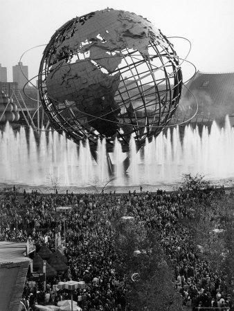 Fountains Surrounding Unisphere at New York World's Fair on Its Closing Day