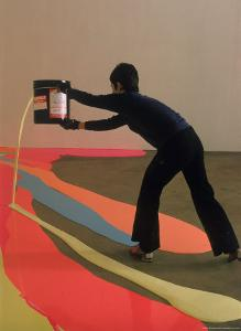 Lynda Benglis Painting a Floor Latex and Pigments at the University of Rhode Island by Henry Groskinsky