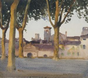 On the Walls, Lucca, c.1923 by Henry H^ Bulman