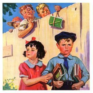 """Carrying Her Books for Her,""September 1, 1937 by Henry Hintermeister"