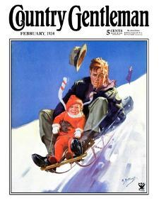 """""""Father and Child on Sled,"""" Country Gentleman Cover, February 1, 1934 by Henry Hintermeister"""
