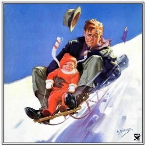 """""""Father and Child on Sled,""""February 1, 1934 by Henry Hintermeister"""