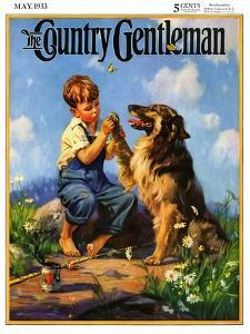 """""""Fish Hook in Dog's Paw,"""" Country Gentleman Cover, May 1, 1933 by Henry Hintermeister"""