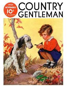 """""""Girl, Dog and Injured Bird,"""" Country Gentleman Cover, November 1, 1935 by Henry Hintermeister"""