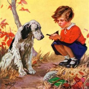 """Girl, Dog and Injured Bird,""November 1, 1935 by Henry Hintermeister"