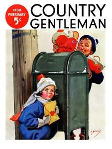 """""""My Secret Valentine,"""" Country Gentleman Cover, February 1, 1938 by Henry Hintermeister"""