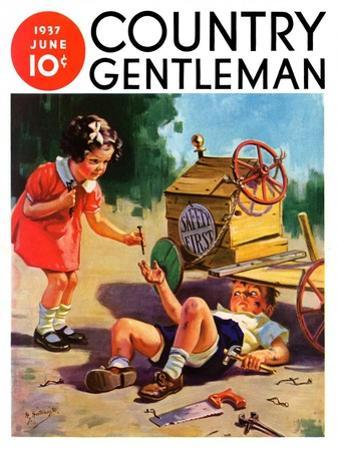 """""""Safety First,"""" Country Gentleman Cover, June 1, 1937 by Henry Hintermeister"""