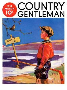 """""""Soft Ice,"""" Country Gentleman Cover, March 1, 1936 by Henry Hintermeister"""