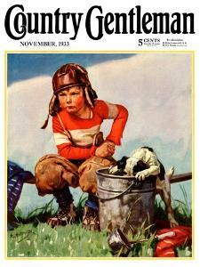 """""""Water Boy and Dog,"""" Country Gentleman Cover, November 1, 1933 by Henry Hintermeister"""