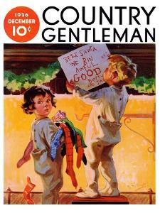 """""""We Bin Awful Good,"""" Country Gentleman Cover, December 1, 1936 by Henry Hintermeister"""