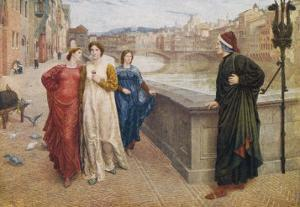 Dante Alighieri Italian Writer Meeting His Beloved Beatrice Portinari on the Lung'Arno Florence by Henry Holiday