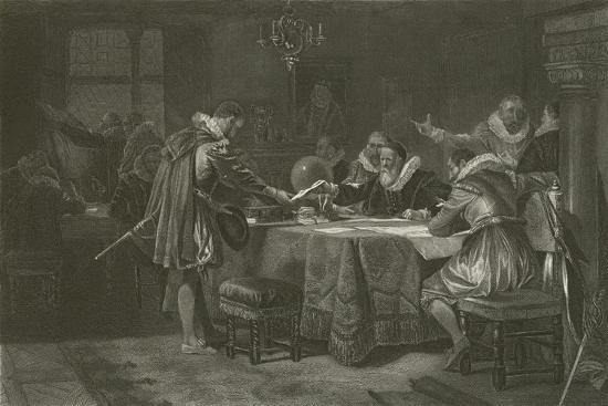 Henry Hudson Receiving His Commission from the Dutch East India Company, 1609-Alonzo Chappel-Giclee Print