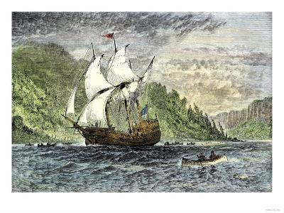 Henry Hudson's Ship, Half-Moon, Ascending the Hudson River, c.1609--Giclee Print