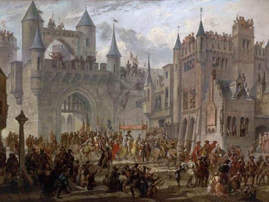 Henry II, 1519-59 King of France, entering Metz, France, 18 April 1552-Auguste Migette-Giclee Print