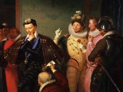 Henry III, 1551-89 King of France, Pushing Body of Duc de Guise-Charles-Barthélémy-Jean Durupt-Giclee Print