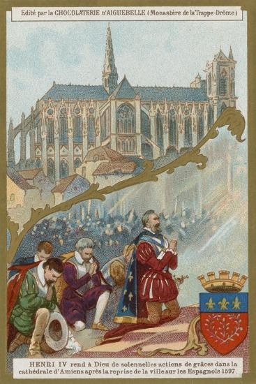 Henry IV of France Praying in Amiens Cathedral after the Recapture of the City from the Spanish--Giclee Print