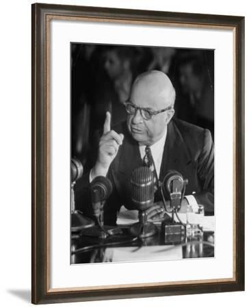 Henry J. Kaiser Testifying at the Howard Hughes Trial--Framed Photographic Print